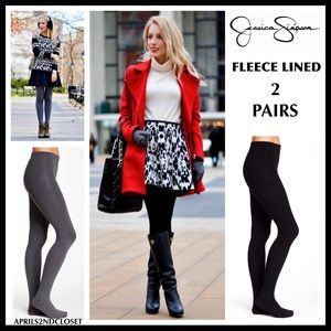 BLACK FLEECE LINED TIGHTS 2 PAIRS A2C